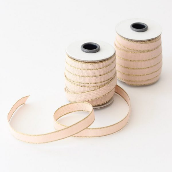 Studio Carta Drittofilo Cotton Ribbon, 20 meters - Blush & Gold
