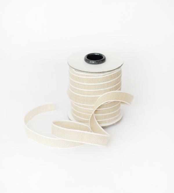 Studio Carta Drittofilo Cotton Ribbon, 20 meters - Tan & White