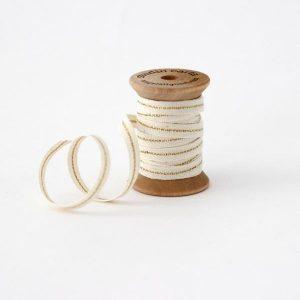 Studio Carta Mettalic Line Cotton Ribbon, 5 meters - Natural & Gold