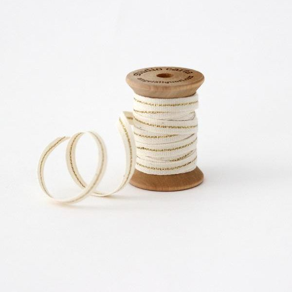 Studio Carta Mettalic Line Cotton Ribbon, 5 meters - Natural & Gold