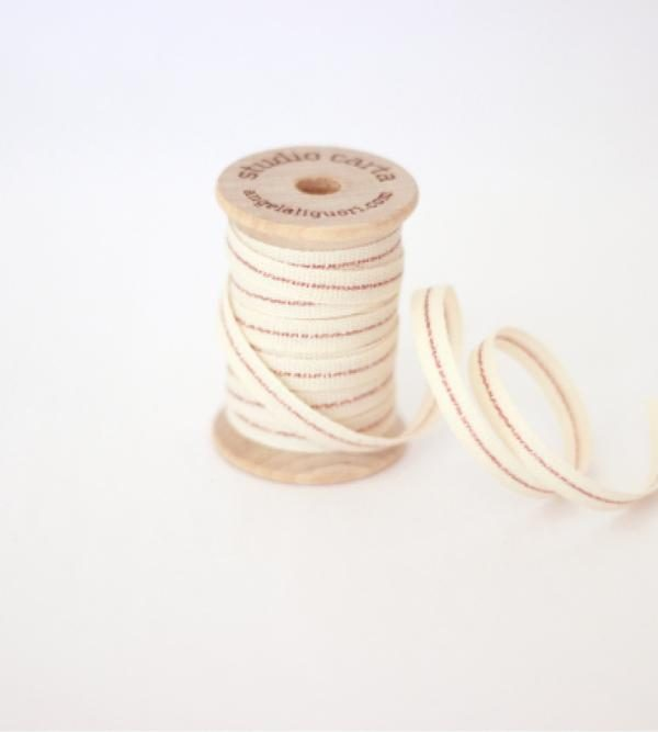 Studio Carta Mettalic Line Cotton Ribbon, 5 meters - Natural & Rose Gold