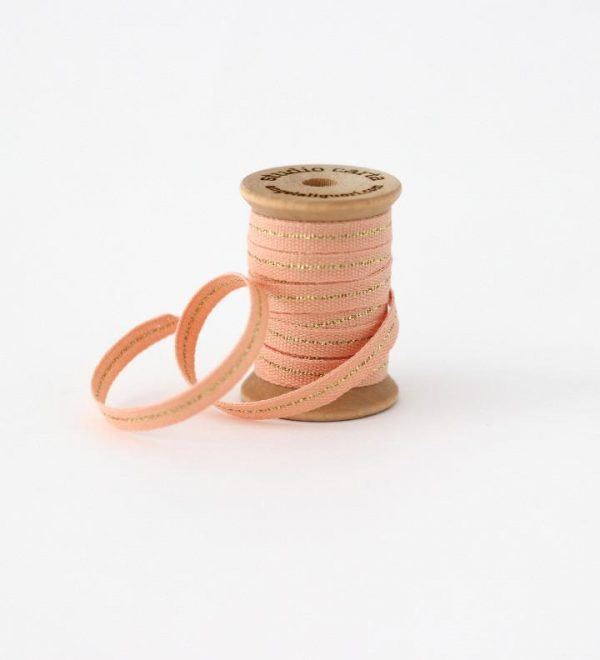 Studio Carta Mettalic Line Cotton Ribbon, 5 meters - Peach & Gold