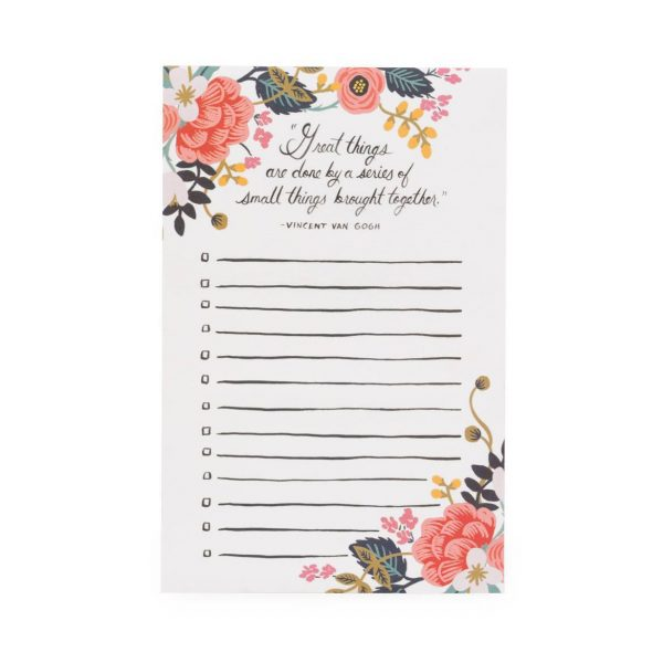 "Rifle Paper Co. ""Rose Lined"" To-Do List Notepad"