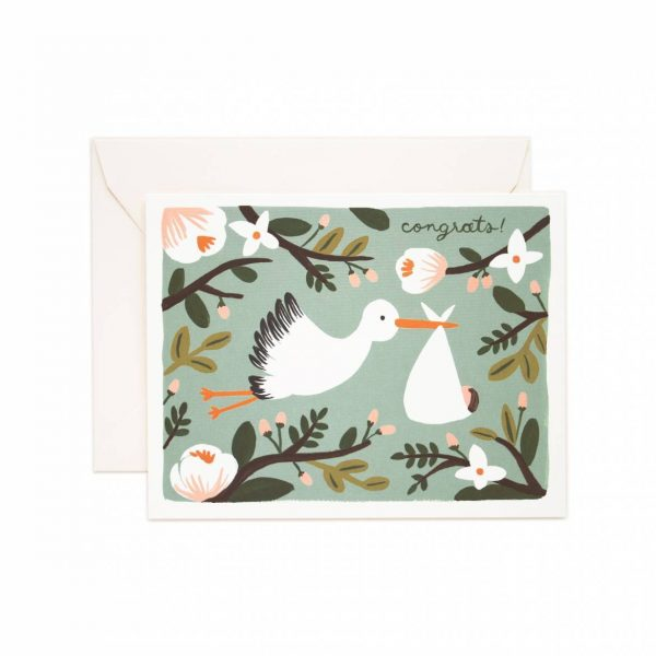 """Rifle Paper Co. """"Congrats Stork"""" Greeting Card"""