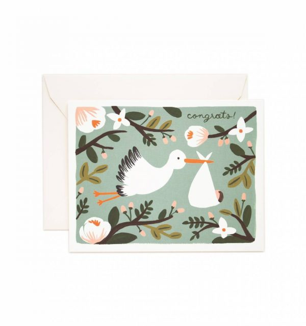 "Rifle Paper Co. ""Congrats Stork"" Greeting Card"