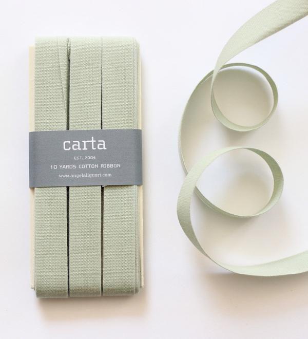 Studio Carta Cotton Ribbon 17 mm, 10 meters paddle – Sage