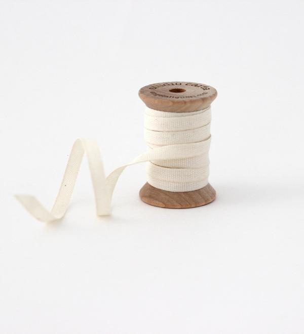 Studio Carta Wood Spool Cotton Ribbon, 5 meters - Natural