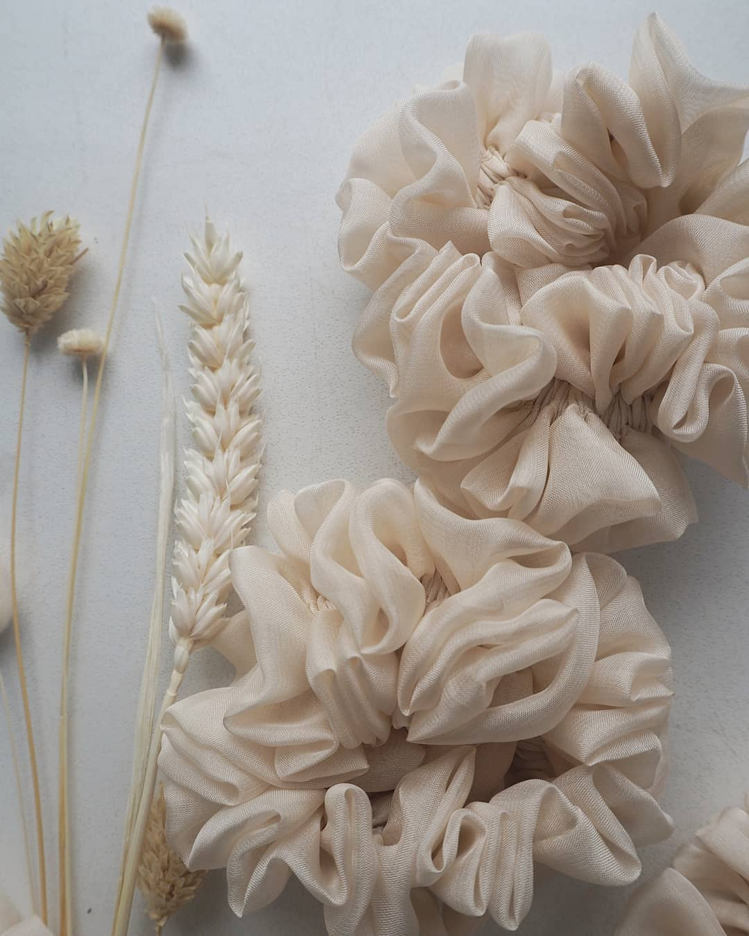 Silk Hair Scrunchie - Cream