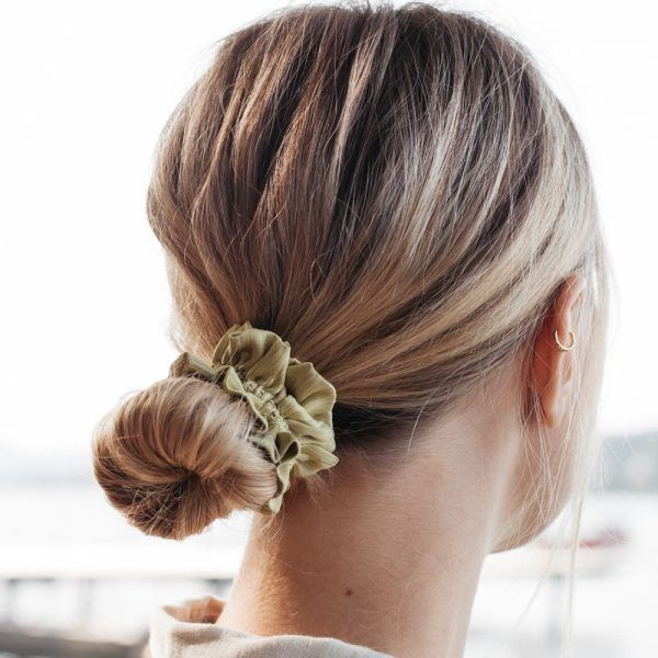 Silk Hair Scrunchie - Pistachio Green