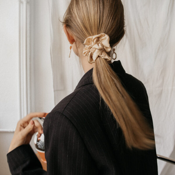 Silk Hair Scrunchie - Tan