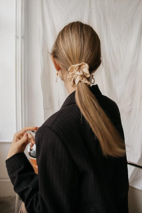 Silk Hair Scrunchie - Tan