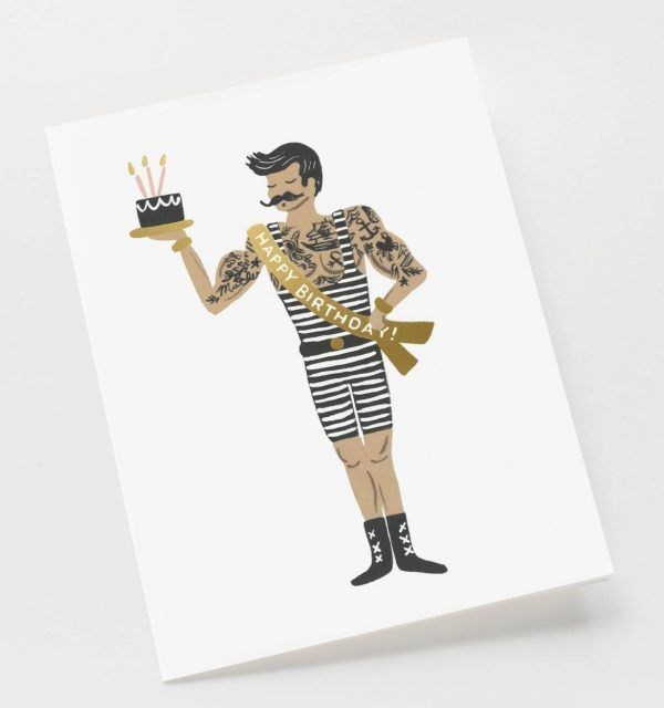 """Rifle Paper Co. """"Strongman Birthday"""" Greeting Card"""
