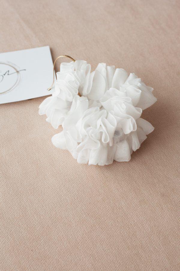 Silk Hair Scrunchie - Snow