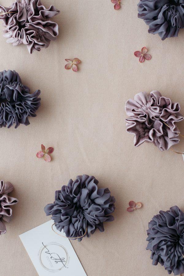 Silk Hair Scrunchie - Fog & Lilac