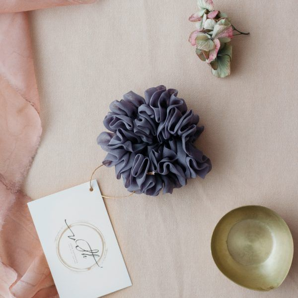 Silk Hair Scrunchie - Fog
