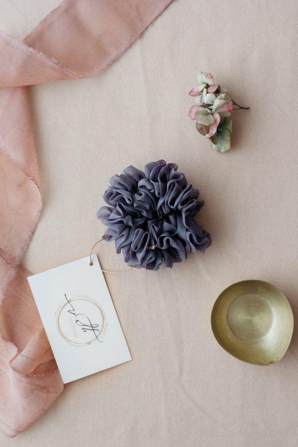 Silk Hair Scrunchie - Fog