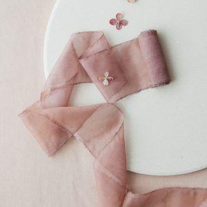 Rosewood Hand-dyed Silk Chiffon Ribbon