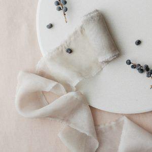 Stone Hand-dyed Silk Chiffon Ribbon