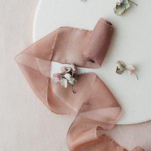 Cinnamon Hand-dyed Silk Chiffon Ribbon
