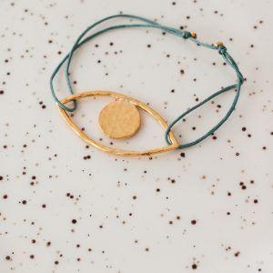 Gold Lara's Eye Bracelet - Sage