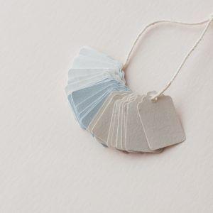 Mini Gift Tag Set Gray Blue Marble