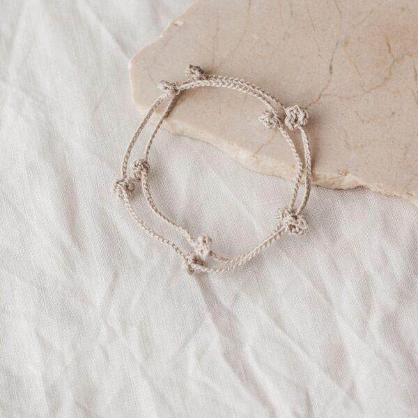 Crochet Floral Bracelet - Beige