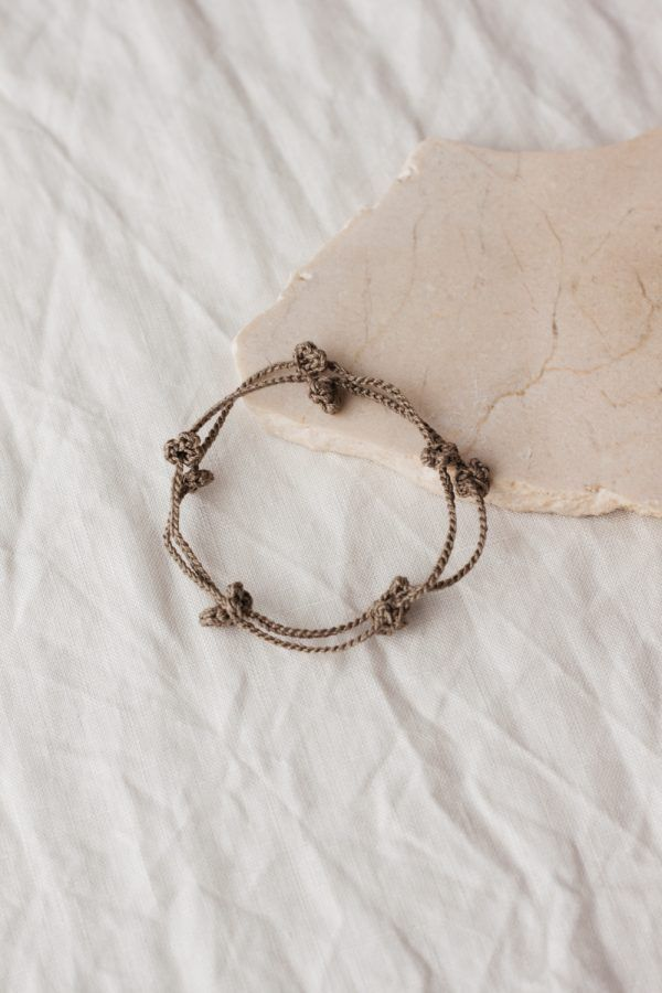 Crochet Floral Bracelet - Olive