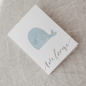 """Blue Whale"" Hand-painted Greeting Card"