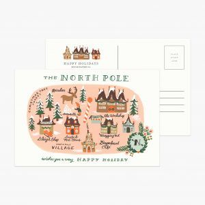 "Rifle Paper Co. ""North Pole Map"" Christmas Postcard"