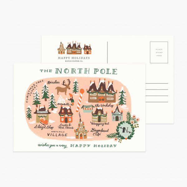 "Rifle Paper Co. ""North Pole Map"" Christmas Postcard"