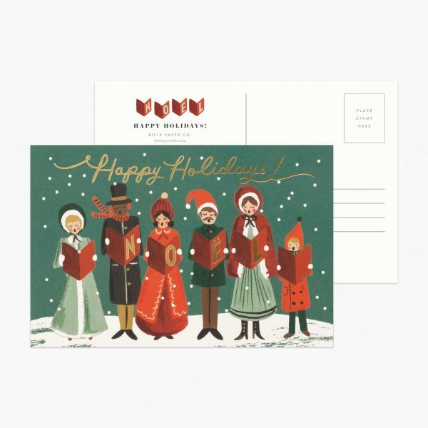 "Rifle Paper Co. ""Carolers"" Christmas Postcard"