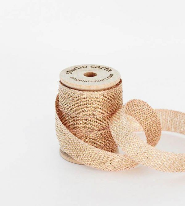 Studio Carta Metallic Loose Weave Cotton Ribbon - Blush & Gold