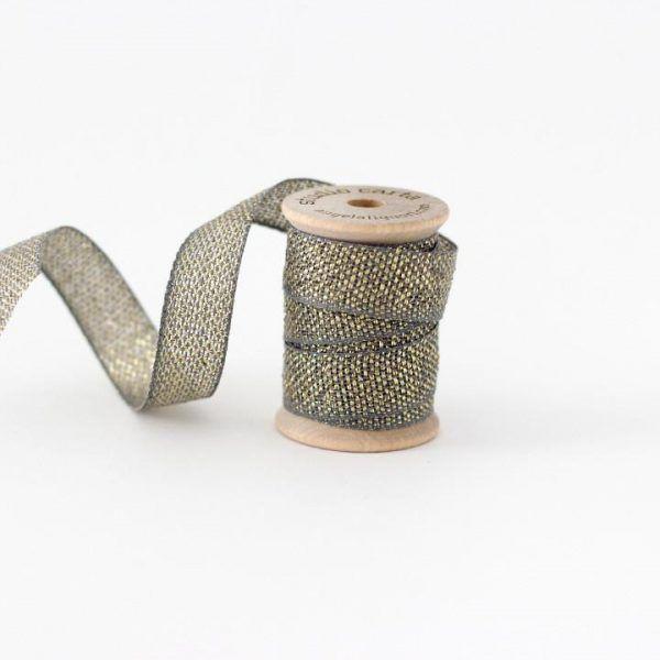 Studio Carta Metallic Loose Weave Cotton Ribbon - Gravel & Gold