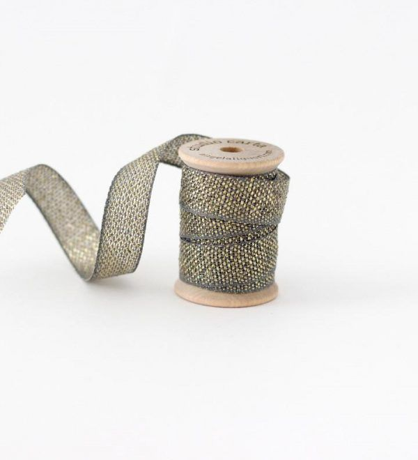 Studio Carta Metallic Loose Weave Cotton Ribbon - Gravel & Gold
