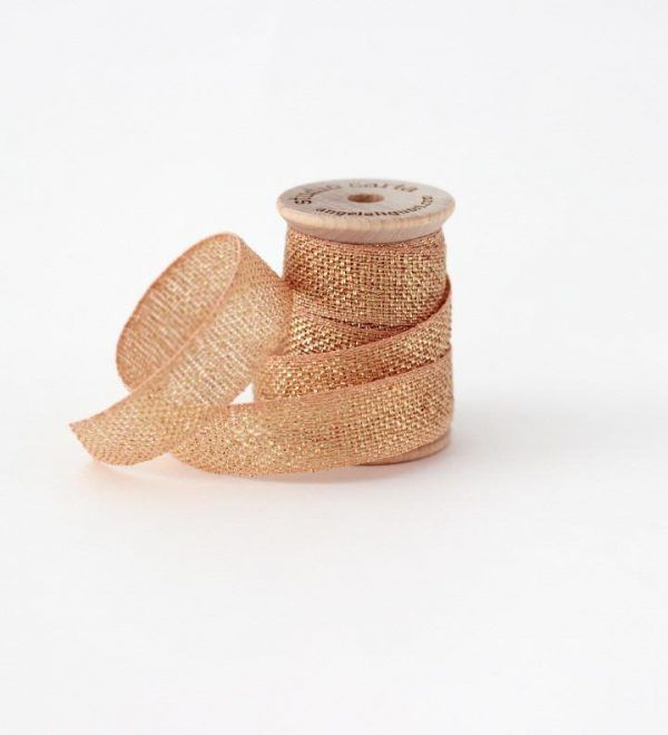 Studio Carta Metallic Loose Weave Cotton Ribbon - Peach & Gold