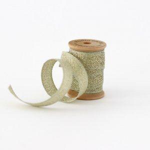 Studio Carta Metallic Loose Weave Cotton Ribbon - Sage & Gold