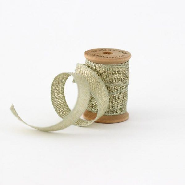 Studio Carta Metallic Loose Weave Cotton Ribbon - Sage & Gold
