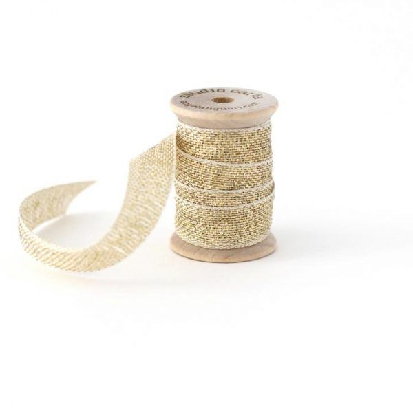 Studio Carta Metallic Loose Weave Cotton Ribbon - Natural & Gold