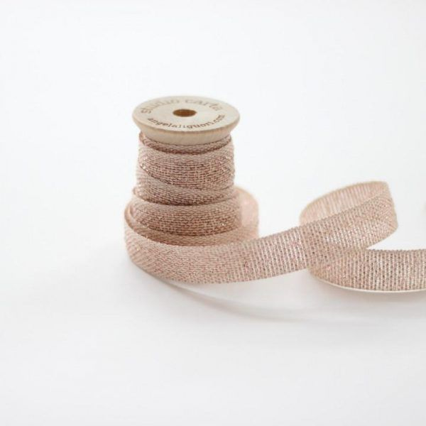 Studio Carta Metallic Loose Weave Cotton Ribbon - Natural & Rose Gold