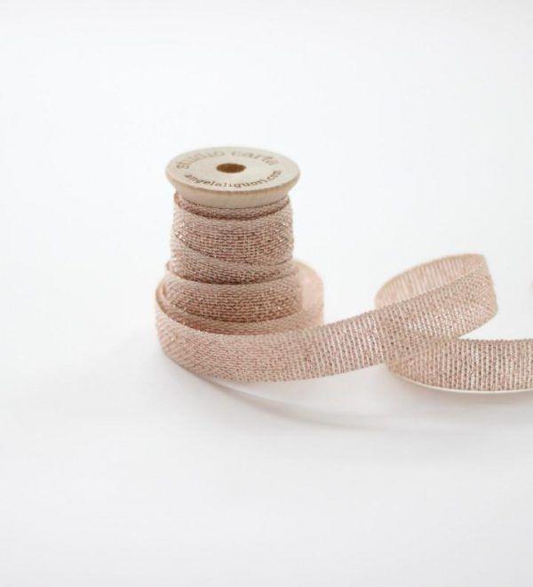 Studio Carta Metallic Loose Weave Cotton Ribbon - Natural & Rose Gold
