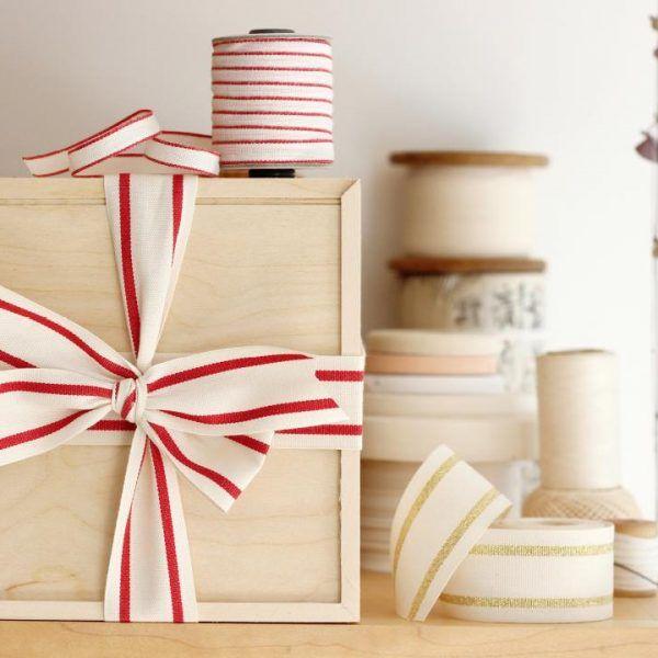 Studio Carta Striped Cotton Ribbon - Red