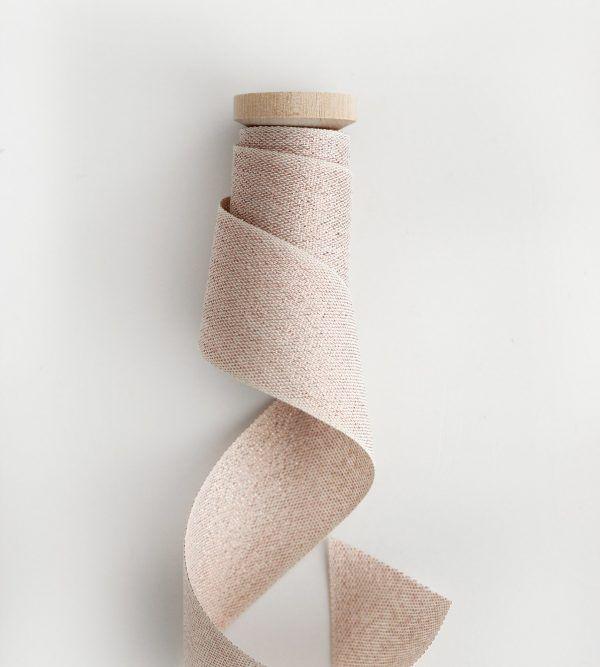 Studio Carta Wood Spool Metallic Woven ribbon - Rose Gold