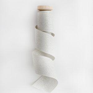 Studio Carta Wood Spool Metallic Woven ribbon - Silver