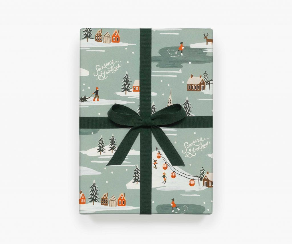 "Rifle Paper Co. ""Holiday Snow Scene"" Christmas Wrapping Paper Sheet"