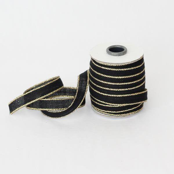 Studio Carta Drittofilo Cotton Ribbon - Black & Gold