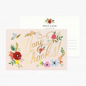 Rifle Paper Co. Bouquet Thanks Postcard