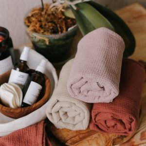 Rose Waffle Linen Towel