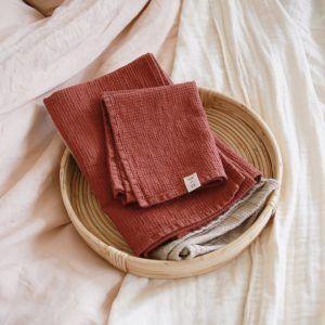 Terracotta Waffle Linen Towel