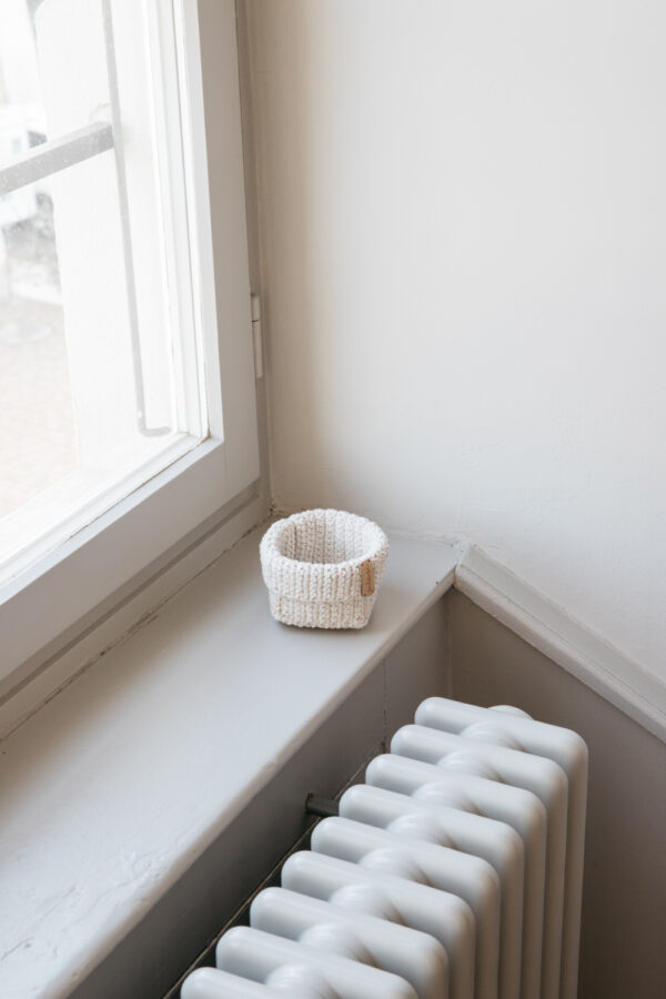 Small Handmade Crochet Basket - Cream