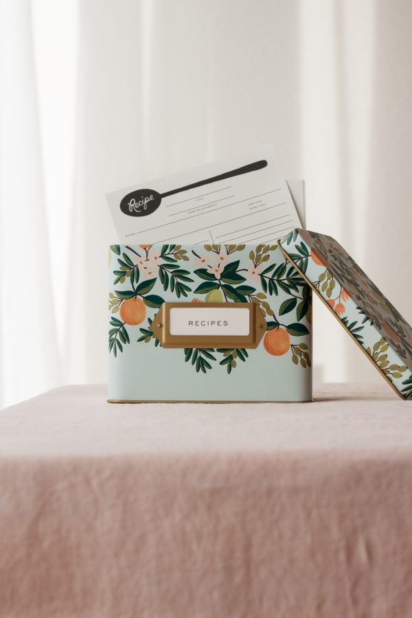 "Rifle Paper Co. ""Citrus Floral"" Tin Recipe Box"